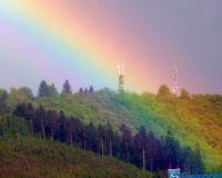 Qitten und Flieder,Küppelturm mit  ,Regenbogen 039